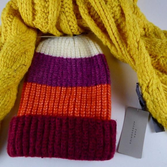 Zara Accessories Cable Knit Heavy Scarf W Striped Beanie Hat